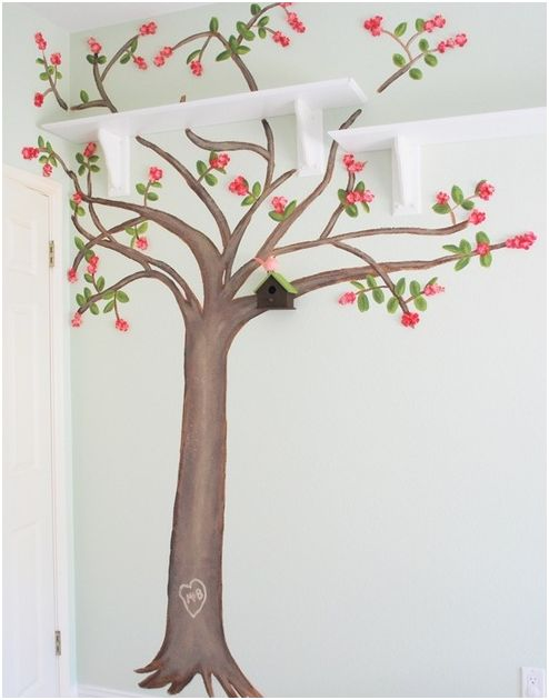 Cherry tree in 3 d centsational girl for Cherry tree wall mural