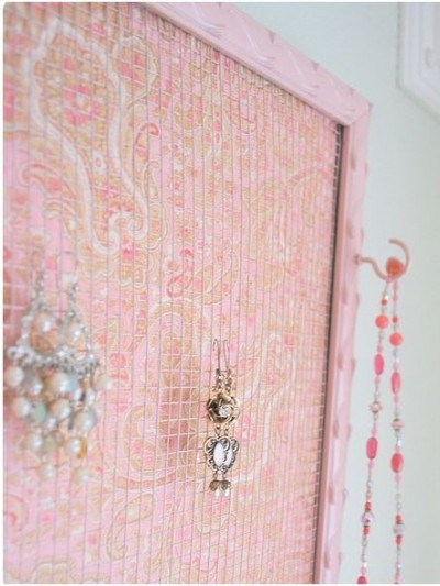 hooks on framed jewelry holder