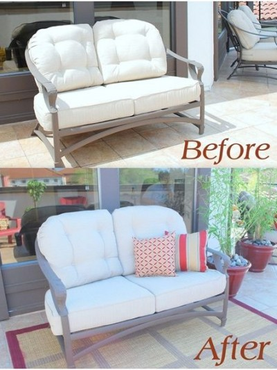 outdoor loveseat before and after