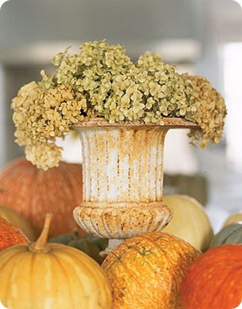 country living urn and pumpkins