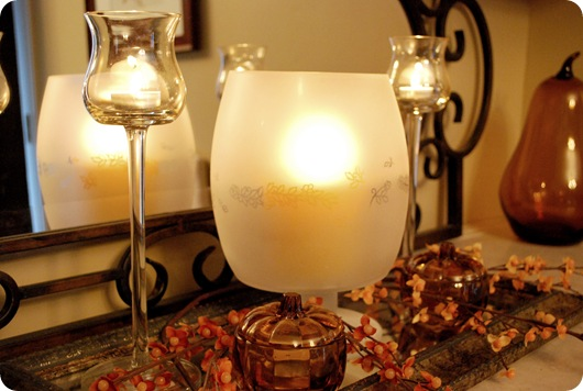 frosted glass fall tablescape