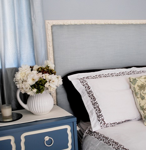 ... this romantic and feminine French inspired fabric covered headboard
