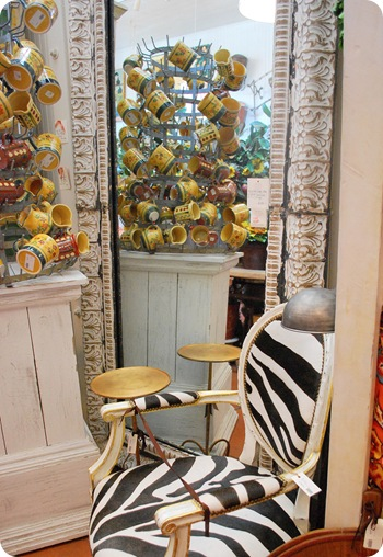 vintage home mirror and chair