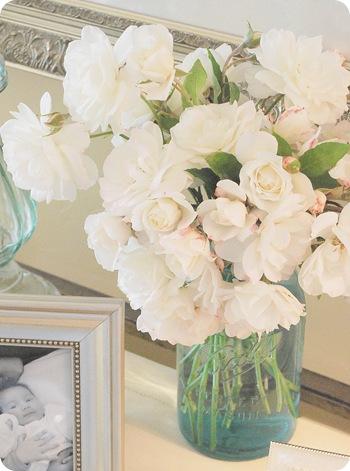 ball jar and roses