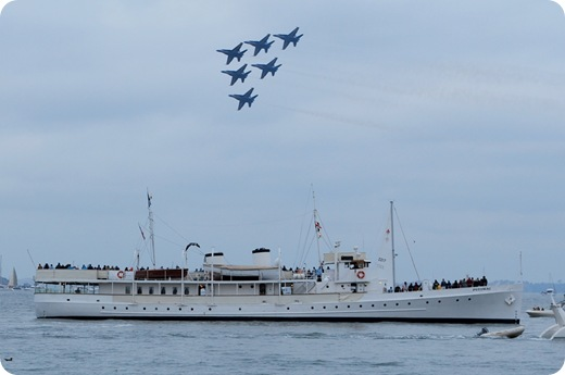 blue angels over ship