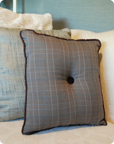 plaid pillow in office