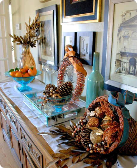 blue gold and orange sideboard