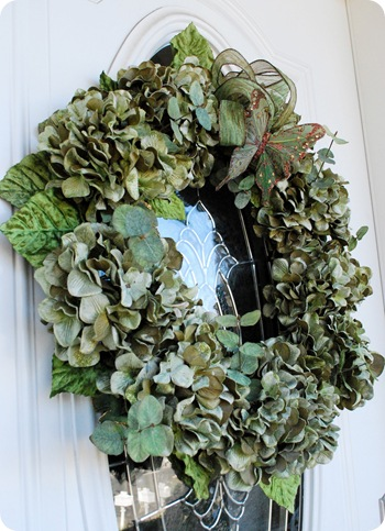 green wreath on door