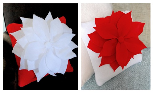 pair of poinsettia pillows