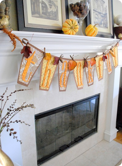 thankful tall banner on mantle