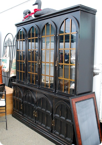 black and copper hutch