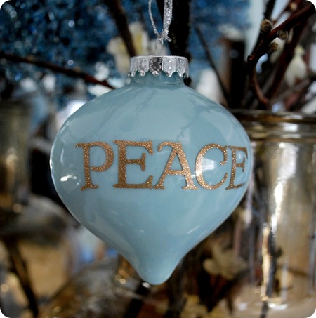 blue peace ornament