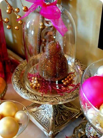 bronze pear under cloche
