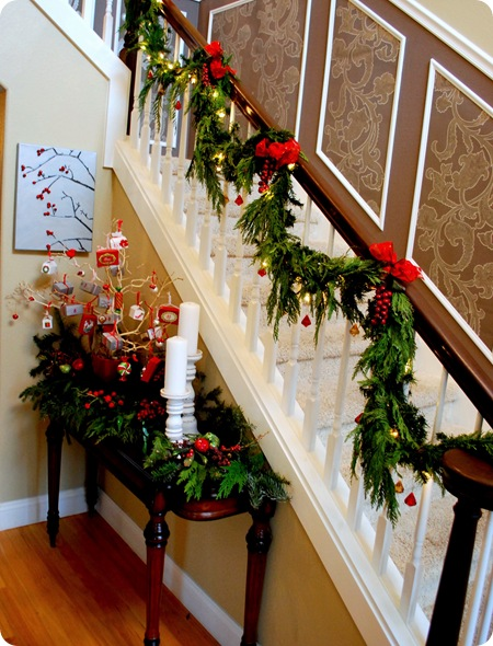 Front entry christmas for Stair railing decorated for christmas