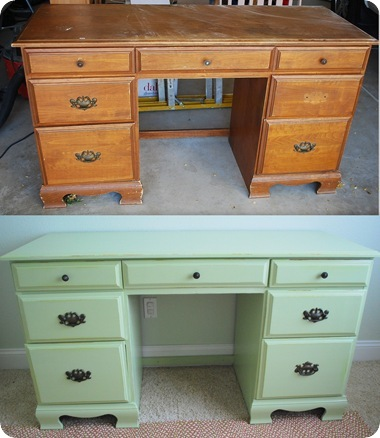 painted desk before and after