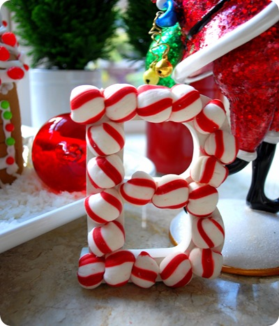 peppermint letter ornament