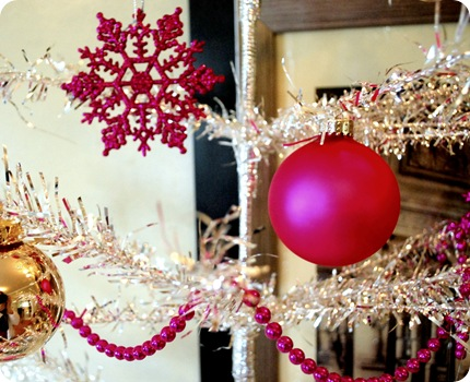 pink ornaments and mardi gras