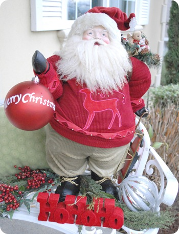 santa bench front porch