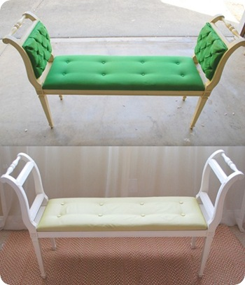 tufted bench before and after