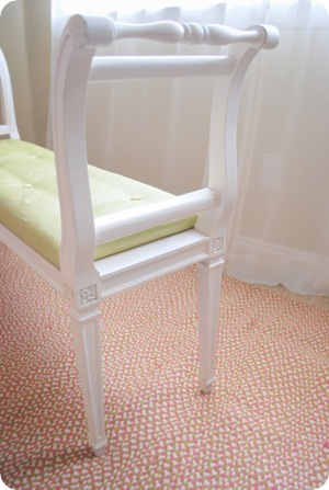 tufted bench close up