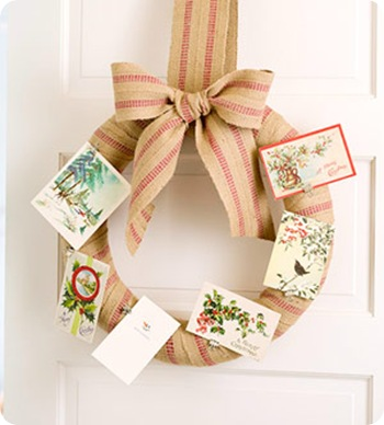 wreath christmas card display bhg