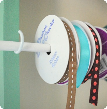 cup hooks and ribbon