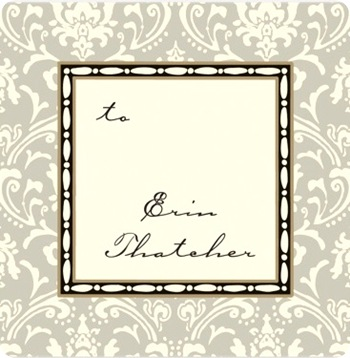 damask taupe label