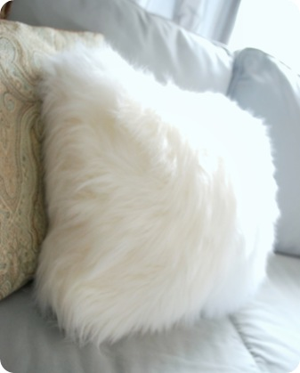 faux fur white throw pillow