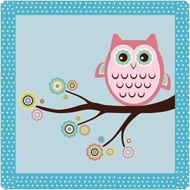 retro mod owl print
