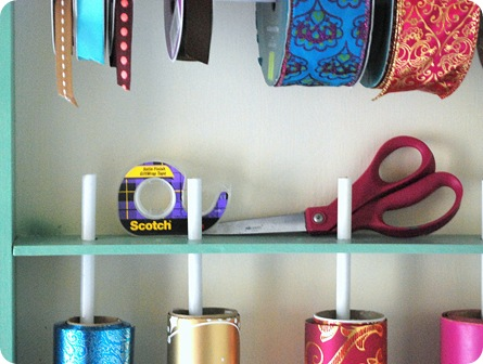 shelf for scissors and tape
