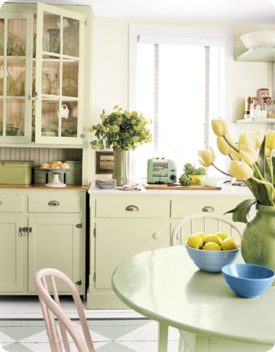 country living green retro kitchen cabinets