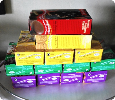 girl scout cookies stacked
