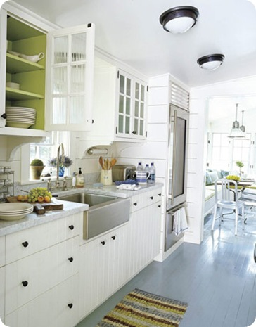house beautiful green and white kitchen