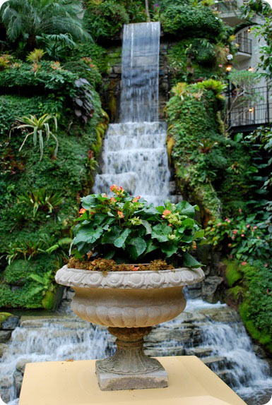 waterfall and urns