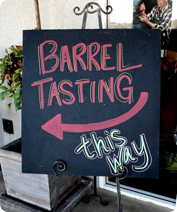 barrel tasting sign
