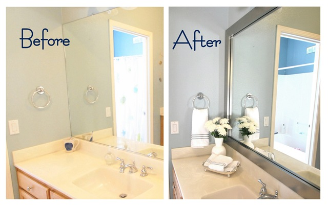 my hall bathroom before and after my custom mirrormate was installed