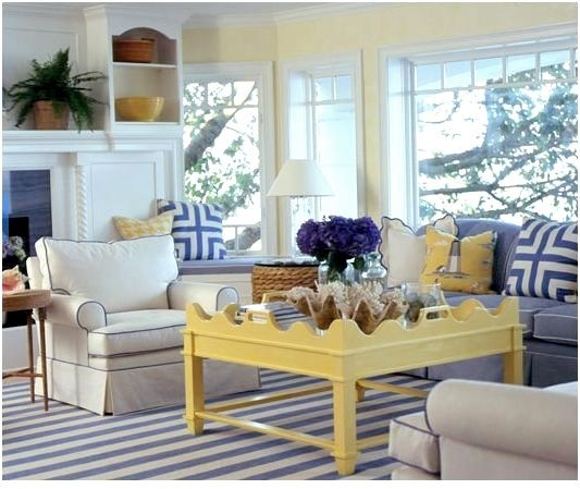 Decorating with yellow centsational style Gray blue yellow living room