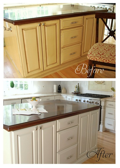 Painting Laminate Cabinets Before And After Island Before And After