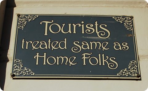 tourists sign