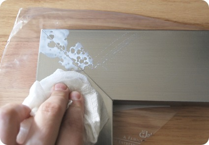 wipe away glue from corners