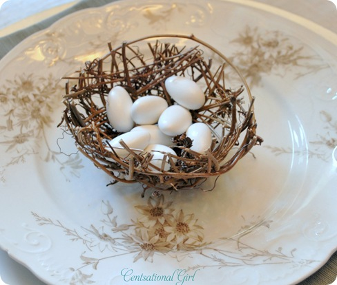 nest on antique plate