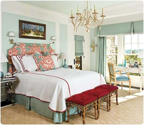 southern living gold blue red bedroom
