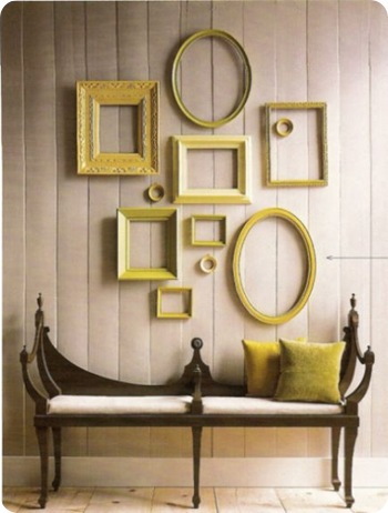 yellow frames on wall