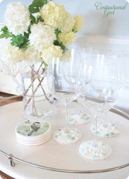 cg jeweled stemware on tray
