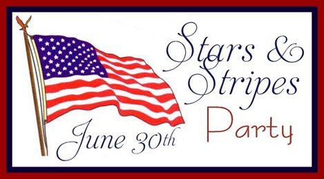 stars and stripes party button