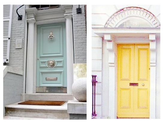 yellow and teal door