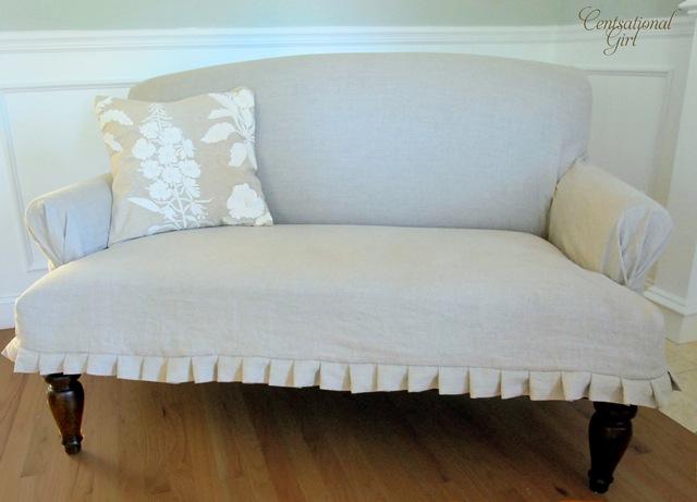 slipcovered settee centsational style. Black Bedroom Furniture Sets. Home Design Ideas