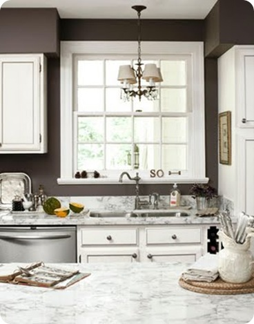 country living brown walls white kitchen