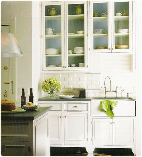 house beautiful blue and green kitchen cabinet interior