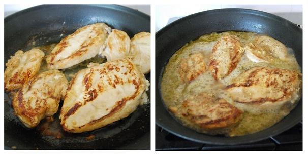 marinade chicken in pan